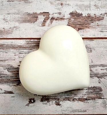 Joy Glass - Dekoratif Seramik Büyük Kalp Beyaz 15cm