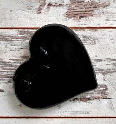 Joy Glass - Dekoratif Seramik Büyük Kalp Siyah 15cm