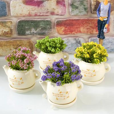 Diğer - Dekoratif Seramik Saksıda Renkli Yapay Çiçek Asorti