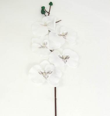 Diğer - Dekoratif Tek Dal Kumaş Orkide Beyaz