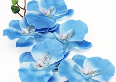 Diğer - Dekoratif Tek Dal Kumaş Orkide Mavi
