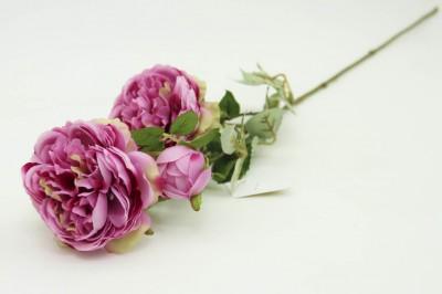 Diğer - Dekoratif Yapay Çiçek 3lü Karanfil Dalı Lila
