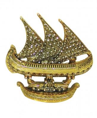 Diğer - Dekoratif Yelkenli Gemi Esmaül Hüsna Hatlı Swarovski Taşlı Gold 27cm
