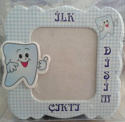 Diğer - Erkek Bebek Diş Buğdayı Hatırası Magnetli Çerçeve Mavi
