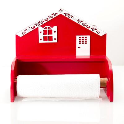 Diğer - Ev Şeklinde Ahşap Kağıt Havluluk 27cm Kırmızı