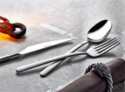 Evimsaray - Evimsaray 90 Parça Çizgili Deri Sandıklı Çatal Kaşık Bıçak Takımı