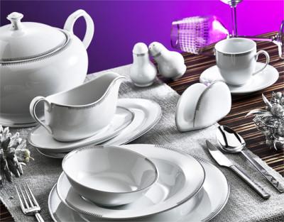 Evimsaray - Evimsaray Kenarları Çizgili 12 Kişilik 86 Parça Porselen Yemek Takımı