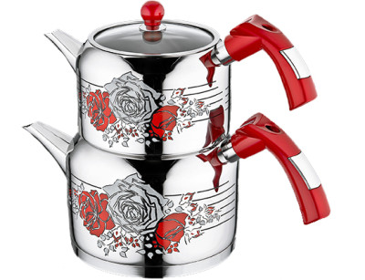 Evimsaray - Evimsaray Rose Dekorlu Büyük Boy Çaydanlık Kırmızı
