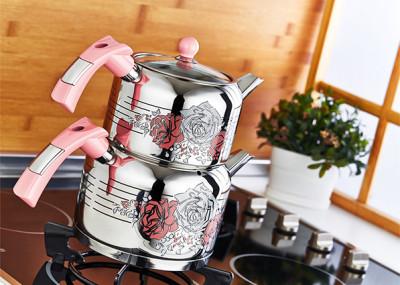 Evimsaray - Evimsaray Rose Dekorlu Büyük Boy Çaydanlık Pembe