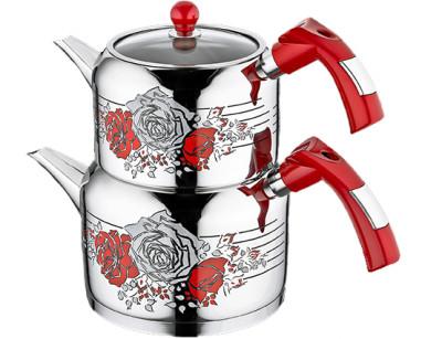 Evimsaray - Evimsaray Rose Dekorlu Orta Boy Çaydanlık Kırmızı