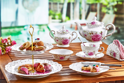 Evimsaray - Evimsaray Rose Deluxe Gül Desenli Kahvaltı ve İkram Seti 33 Parça