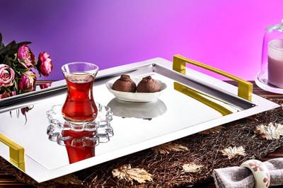 Evimsaray - Evimsaray Safir Tepsi Gold