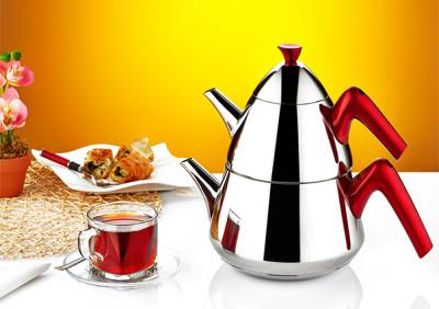 Evimsaray - Evimsaray Şahika Orta Boy Çaydanlık Kırmızı