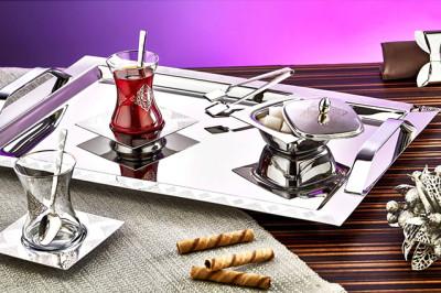 Evimsaray - Evimsaray Şehzade 40 Parça Çay Seti Gümüş