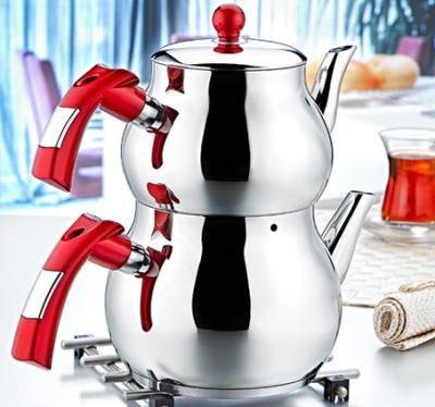 Evimsaray - Evimsaray Şelale Büyük Boy Çaydanlık Kırmızı