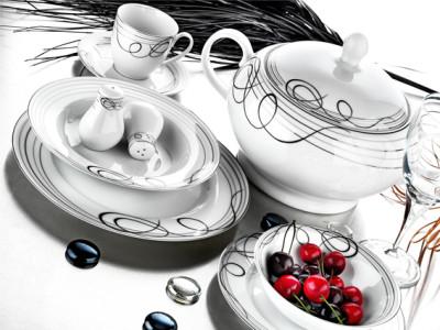 Evimsaray - Evimsaray Yuvarlak Desenli 12 Kişilik 86 Parça Porselen Yemek Takımı