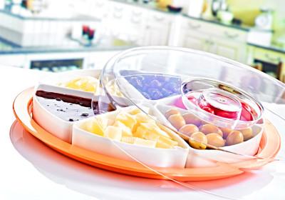 Diğer - Fanuslu 6 Bölmeli Plastik Kahvaltılık Servis ve Saklama Kabı Asorti