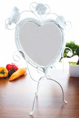 Diğer - Ferforje Kuş Figürlü Lüx Kalpli Makyaj Aynası Beyaz