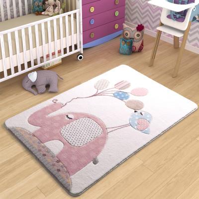 Diğer - Fil ve Balon Tasarımlı Çocuk ve Bebek Odası Halısı Pembe 133x190cm