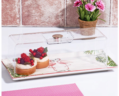 Diğer - Flamingo Desenli Baton Kek ve Pasta Fanusu