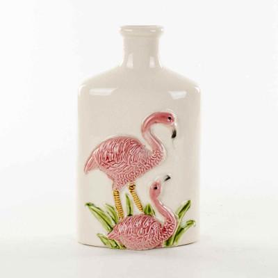 Diğer - Flamingo Figürlü Dar Ağızlı Seramik Vazo 26cm