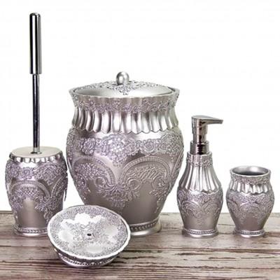 Diğer - Flora Nakışlı Lüks Banyo Seti 5 Parça Gümüş