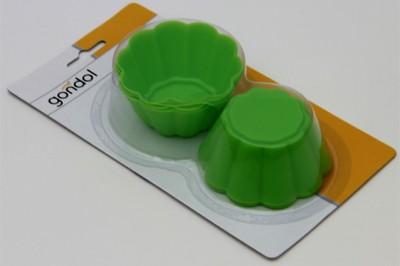 Gondol - Gondol Mini Çiçek 6lı Silikon Kek Kalıbı 7cm.Yeşil