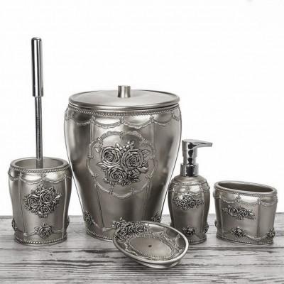 Diğer - Gül Motifli Lüks Banyo Seti 5 Parça Gümüş