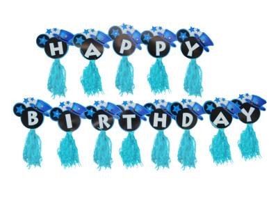 Diğer - Happy Birthday Yazılı Püsküllü Asma Zincir Parti Süsü Mavi