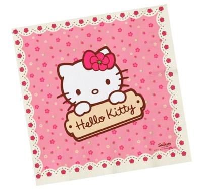 Diğer - Hello Kitty Pembe Çiçek Desenli 16lı Kağıt Peçete