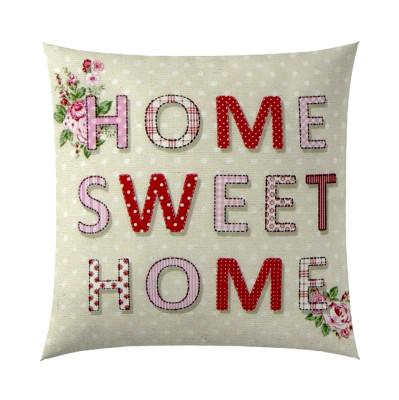 Diğer - Home Sweet Home Yazılı Dekoratif Kırlent Kılıfı 43cm