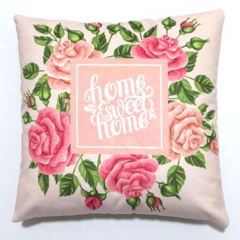 Home Sweet Home Yazılı Pembe Gül Desenli Kırlent Kılıfı 43cm