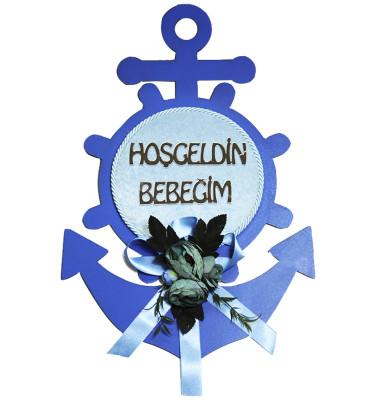 Diğer - Hoşgeldin Bebeğim Ahşap Denizci Temalı Bebek Odası Kapı Süsü Mavi