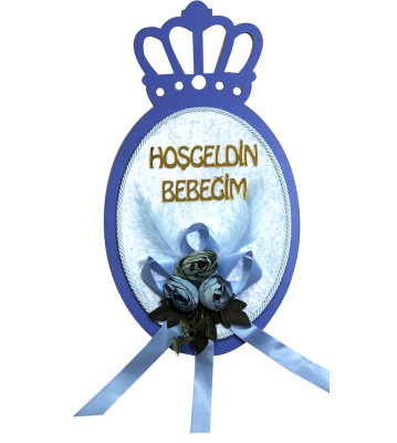 Diğer - Hoşgeldin Bebeğim Ahşap Kral Taçlı Bebek Odası Kapı Süsü Mavi