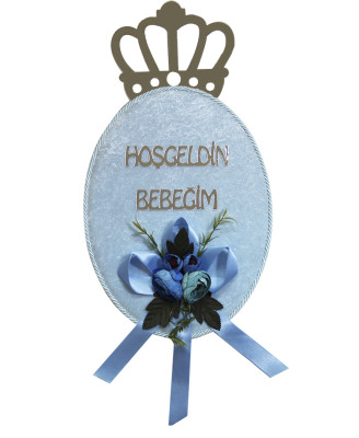 Diğer - Hoşgeldin Bebeğim Pleksi Kral Taçlı Bebek Odası Kapı Süsü Mavi