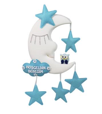 Diğer - Hoşgeldin Bebeğim Yıldız ve Baykuşlu Ay Dede Kapı Süsü Mavi