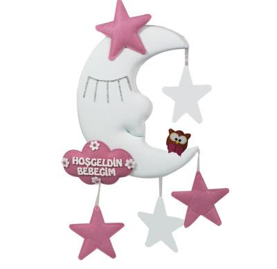 Diğer - Hoşgeldin Bebeğim Yıldız ve Baykuşlu Ay Dede Kapı Süsü Pembe