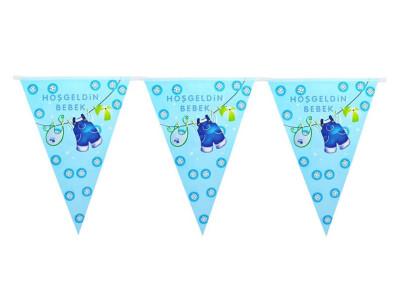 Diğer - Hoşgeldin Bebek Baby Shower Partisi Üçgen Flama Bayrak Mavi