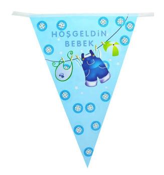 Hoşgeldin Bebek Baby Shower Partisi Üçgen Flama Bayrak Mavi