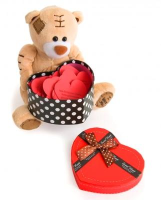 Diğer - I Love You Sesli Romantik Ayıcık ve Kutulu 365 Gün Sevgi Sözcükleri