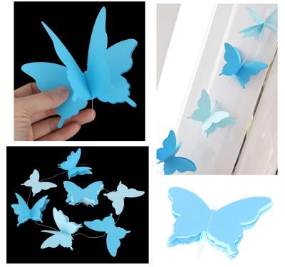 Diğer - İpe Dizili Kağıt Kelebek Şeklinde Asma Süsler Mavi