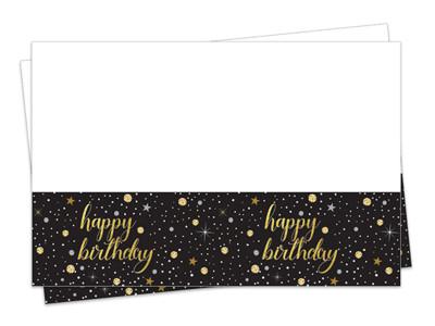 Diğer - Işıltılı Görünen Happy Birthday Parti Masa Örtüsü 120x180cm