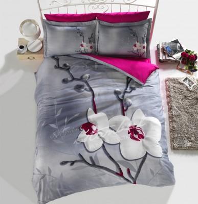 İyi Geceler İstanbul - İyi Geceler İstanbul 3D Orchids Üç Boyutlu Saten Çift Kişilik Nevresim Takımı Gri