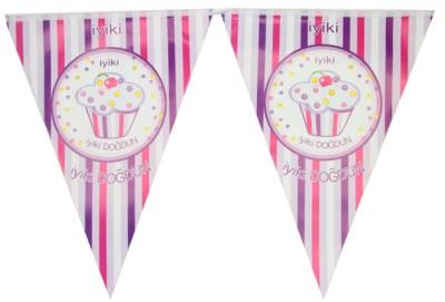 Diğer - İyiki Doğdun Cupcake Baskılı Doğum Günü Partisi Flama Bayrak Pembe