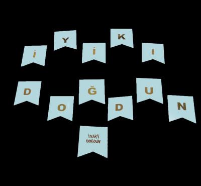 Diğer - İyiki Doğdun Gold Harfler Karton Bayrak Seti Mavi