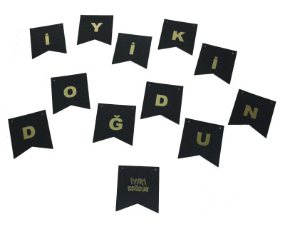 Diğer - İyiki Doğdun Gold Harfler Karton Bayrak Seti Siyah