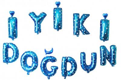 Diğer - İyiki Doğdun Set Yıldız Desenli Folyo Balon Harfler Mavi 40cm