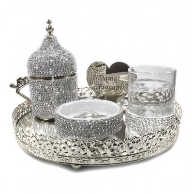 Diğer - Jardinyer Tepsili Taşlı Damat Fincanı Seti Gümüş