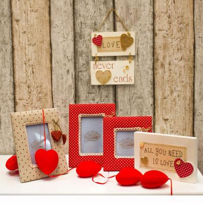 Diğer - Kalp Figürlü Puantiyeli Ahşap Çerçeve 19cm Kırmızı
