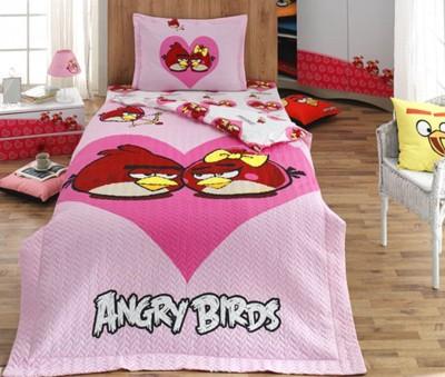 Diğer - Kalp İçerisinde İkili Angry Birds Dört Mevsim Set Tek Kişilik